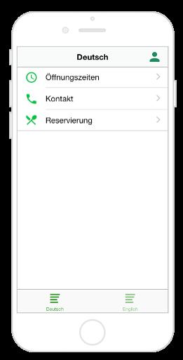 Mehrsprachige App mit der Navigation Tab Leiste und einem Submenü für erste Sprache