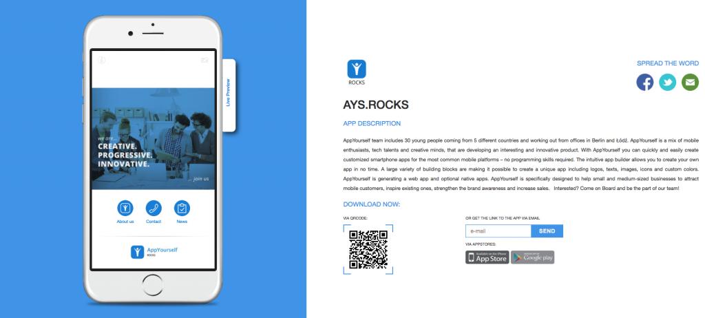 Die neue App Landingpage passt sich an die Hauptfarbe der App an