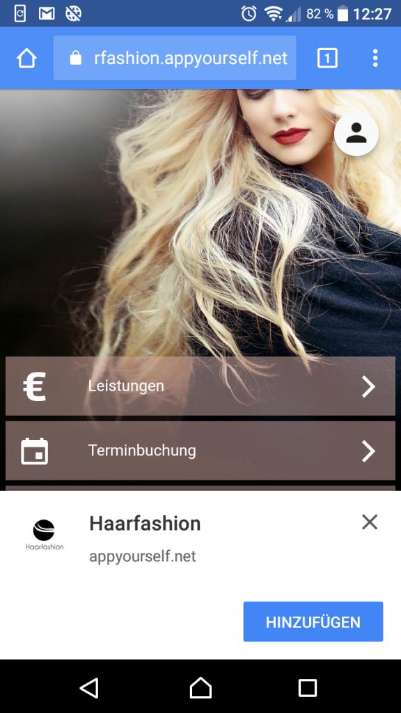 Die Progressive Web App auf den Homescreen ablegen.
