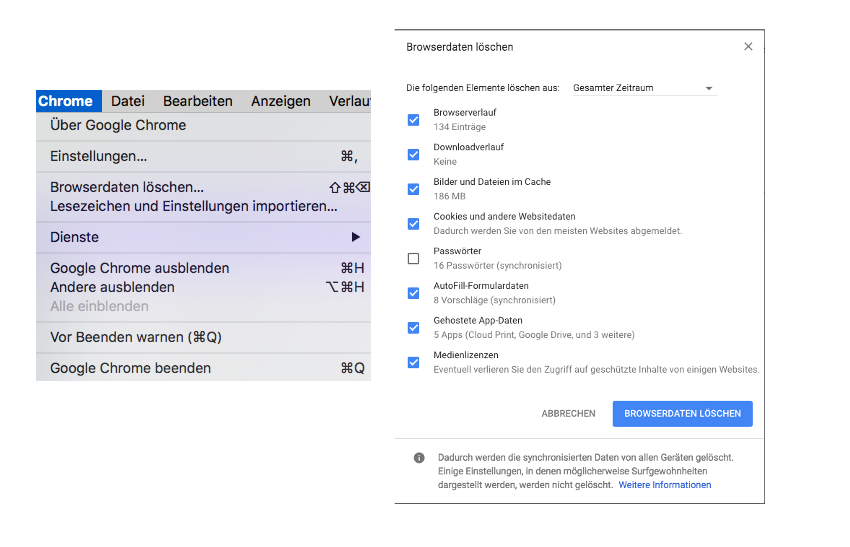 Cache Löschung in Google Chrome unter iOS
