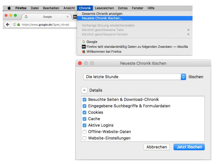 Cache leeren in Mozilla Firefox unter iOS