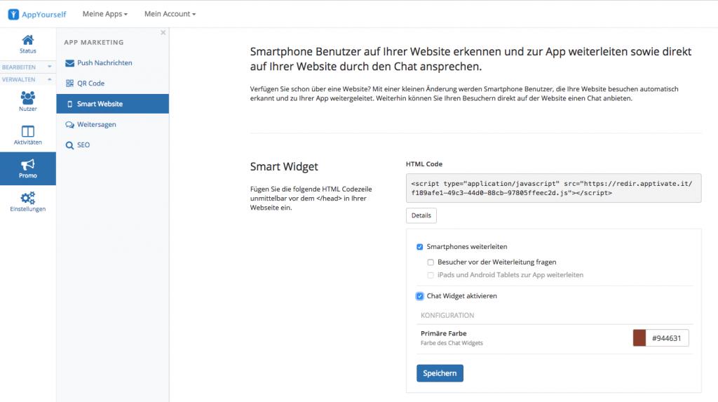 Smart Widget über das AppYourself Dashboard aktivieren