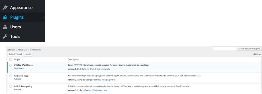PlugIn Übersicht im WordPress Dashboard