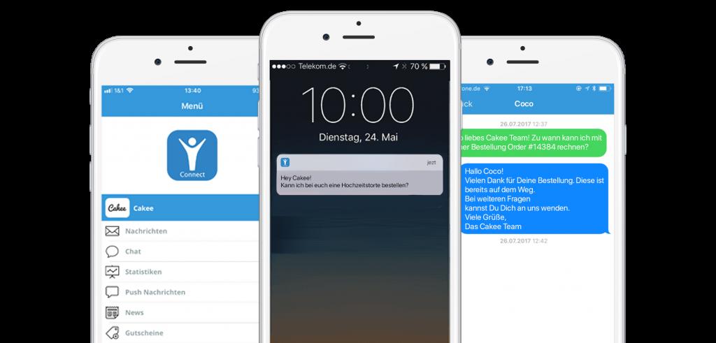 Auch über die Connect App ist der Chat mit Website Besuchern möglich