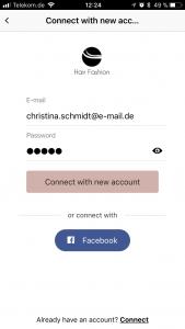In-App registration via e-mail or Facebook