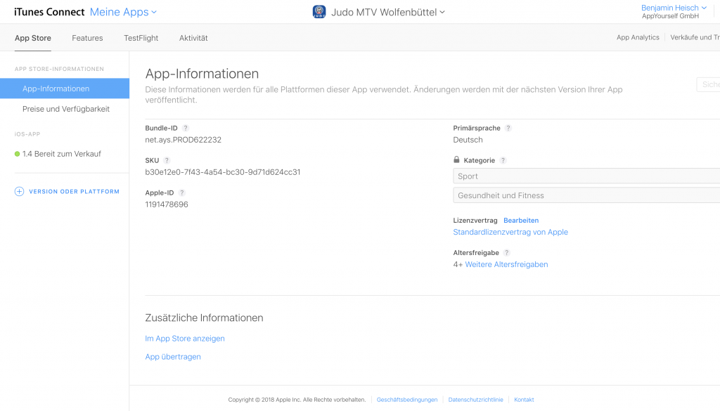 Der App Transfer erfolgt in dem iTunes Connect Konto, in dem die zu transferierende App liegt