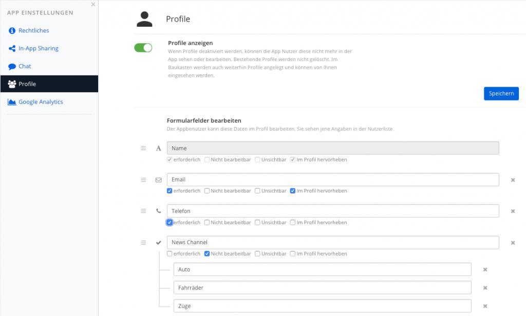 Die Formularfelder und Optionen des App Profils